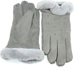 Women's Faux Suede I-Touch Gloves Warmth Faux Fur Cuff Lined