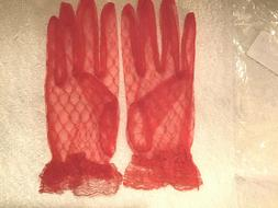 Women's Lace Wrist Gloves Opera Wedding Lace Red Full Hand R