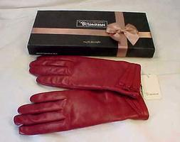 WARMEN Women's Leather Gloves Red / Burgundy - Size 7  Fits
