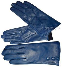 Women's Leather Gloves, Size Small. Turquoise Blue winter Le