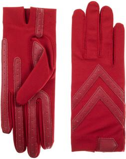 Isotoner Women'S Spandex Shortie Gloves With Leather Palm St