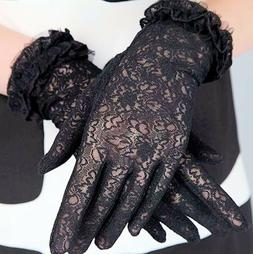 Women Soft Cotton Floral Lace Short Gloves ~ Ivory, Pink, Wh