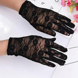 Women Summer Floral Lace Full Finger Gloves Wedding Party Sh