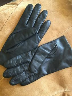 Women's Fownes Black Genuine Leather Driving Gloves Size 8