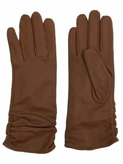 Womens Caramel Brown Ruched Leather Gloves Acrylic Lined Lar