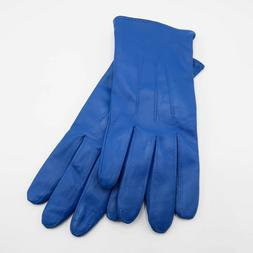 Womens Genuine Leather Classic Soft Blue color Gloves