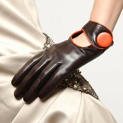 Womens Genuine Nappa Leather Gloves Black Brown 2 Tone More