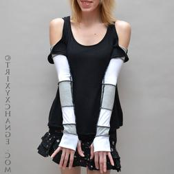 Womens Long Cotton Arm Warmers Gray White Patchwork Gloves w