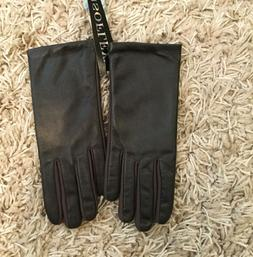 Isotoner Women's One Size Leather Gloves Brown Isoflex NWT