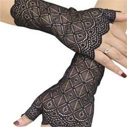 Womens Short Fingerless Lace Gloves 80's Madonna ladies Adul
