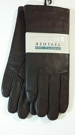 Isotoner Womens size 8 brown leather thinsulate lined gloves