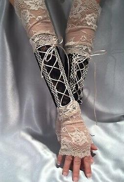 XX Long Lace Up Fingerless Gloves Lace Cuffs Black Pale Gold
